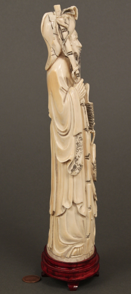 Lot 247: Chinese Carved Ivory Figure, Man w/ Basket & Fish