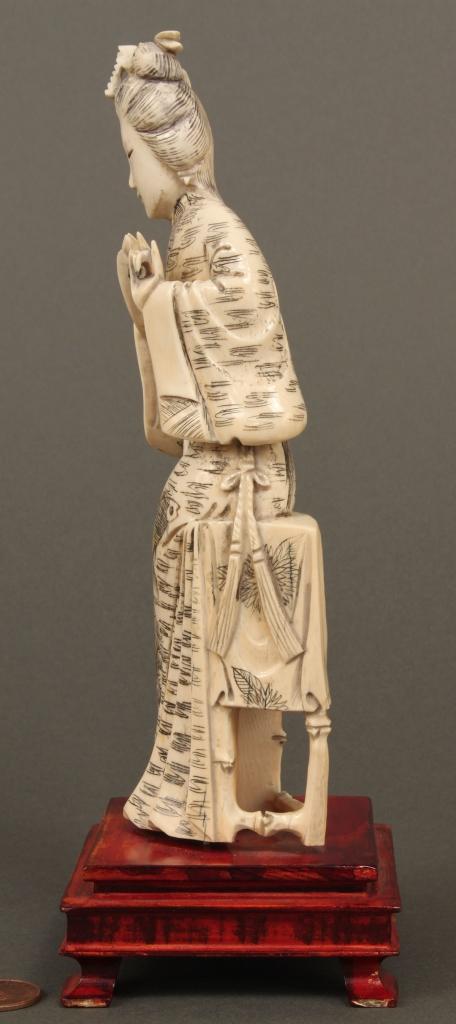 Lot 249: Japanese Carved Ivory Okimono, Geisha