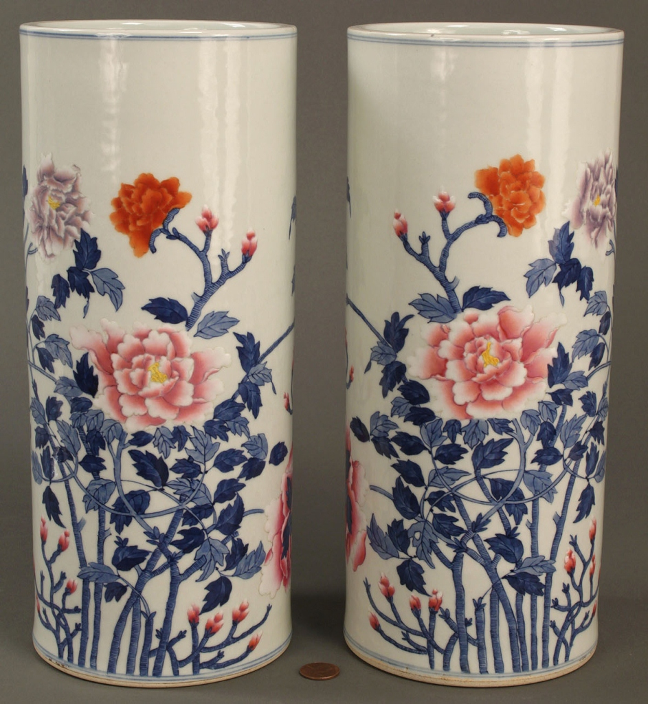 Lot 255: Pair Chinese Porcelain Famille Rose Hat Stands