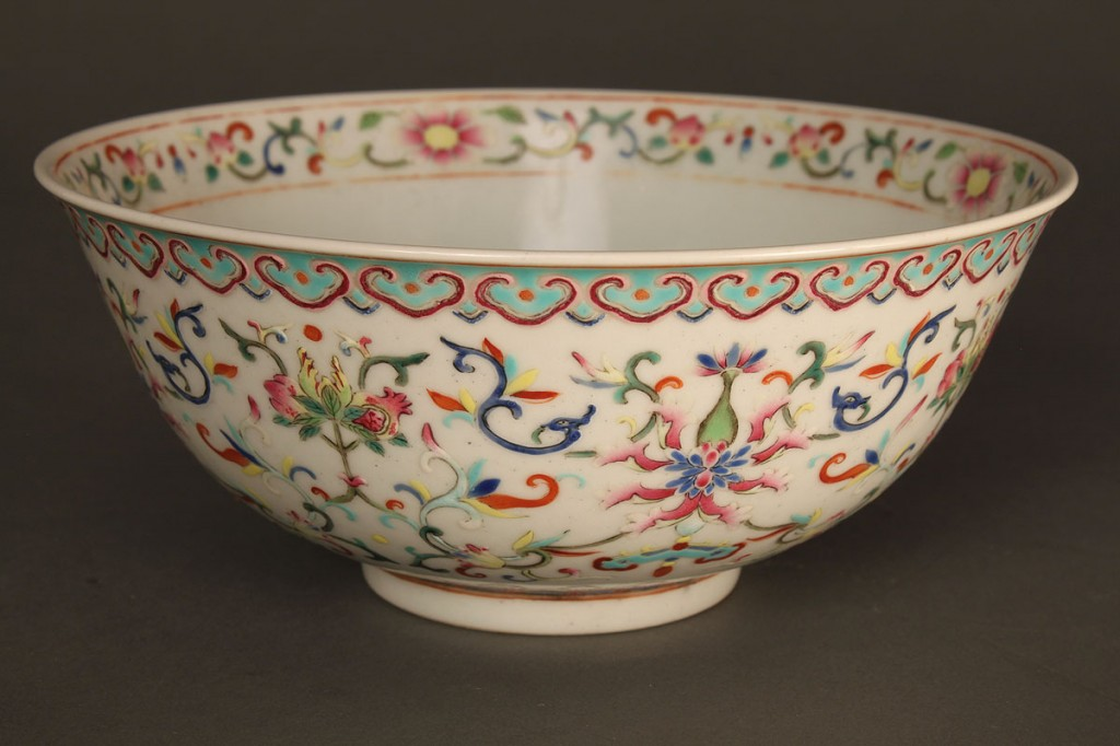Lot 257: Chinese Porcelain Famille Rose Bowl