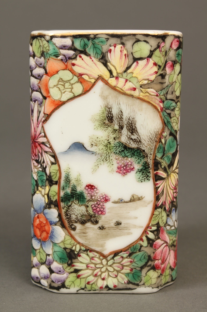 Lot 25: Chinese Famille Rose Brush Pot