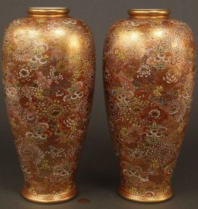 Lot 262: Pair of Large Satsuma Millefiori Vases