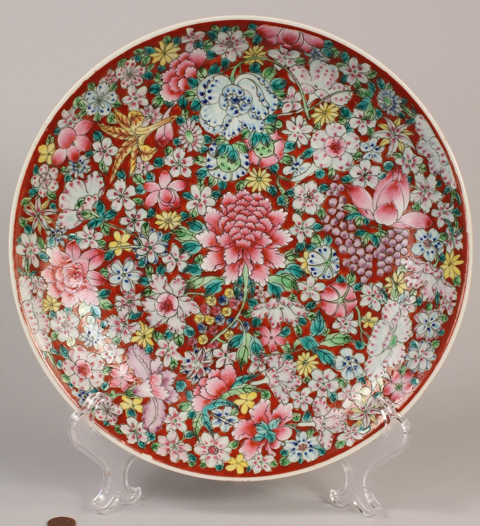 Lot 263: Lot of 3 Chinese Porcelain Items, 100 flowers desi