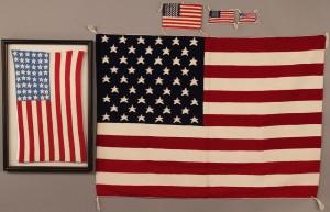 Lot 269: Navajo American Flag weavings and Crochet flag