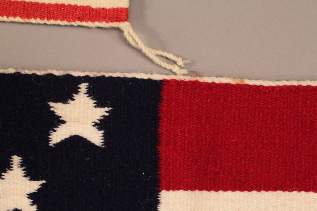 Lot 269: Navajo American Flag weavings and Crochet flag