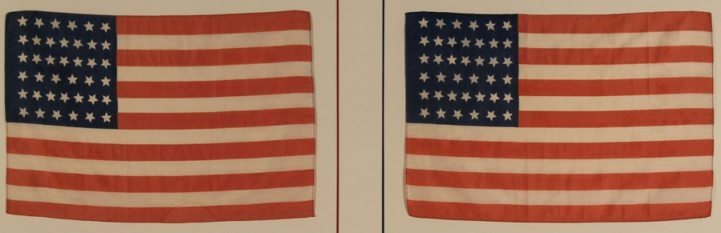 Lot 274: Framed flags, a 46 star & double framed 39 stars