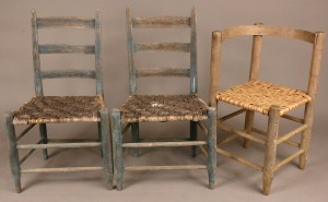 Lot 288: 3 Chairs: southern corner chair & pair ladderbacks