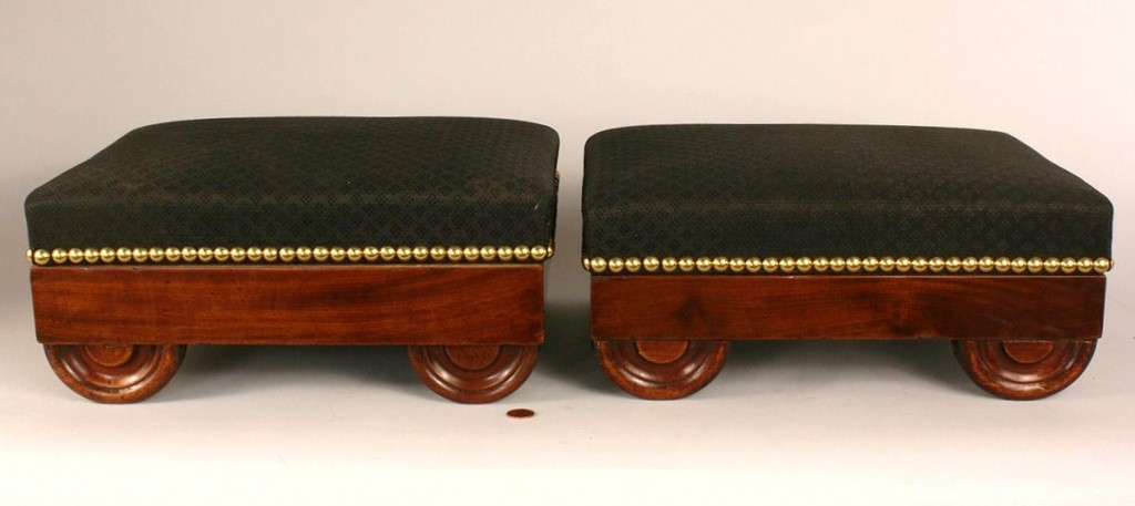 Lot 291: Pair of Classical period footstools, signed