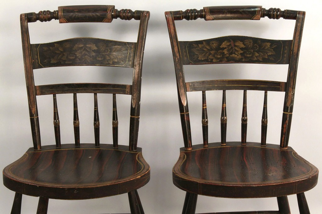 Lot 293: Pair of Stenciled Chairs, labeled