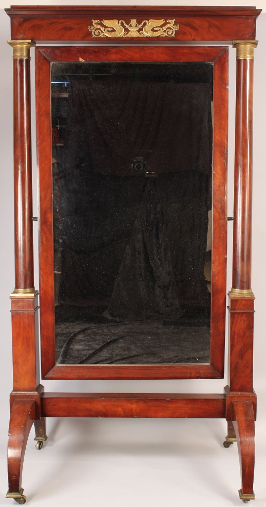Lot 294: American Classical Cheval mirror