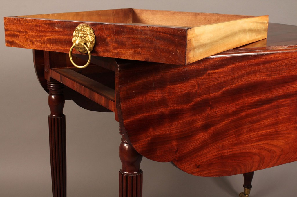 Lot 298: Federal Pembroke Table, labeled Charles Christian