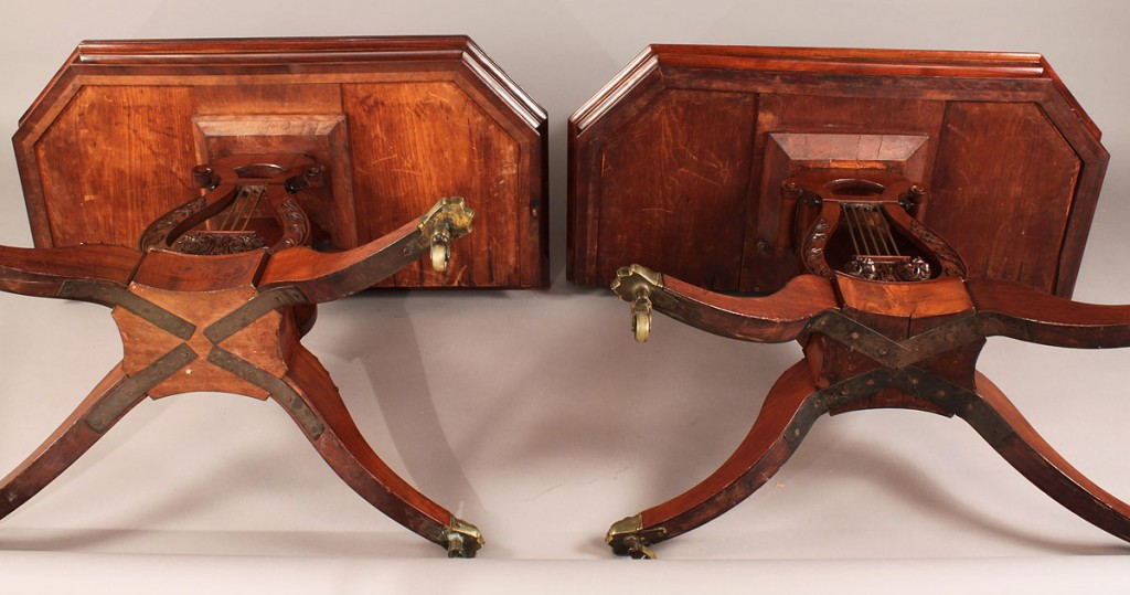 Lot 299: Associated pair of Federal Lyre form card tables