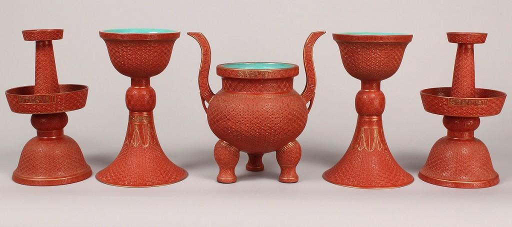 Lot 29: Chinese Porcelain Altar Set, 5 pieces