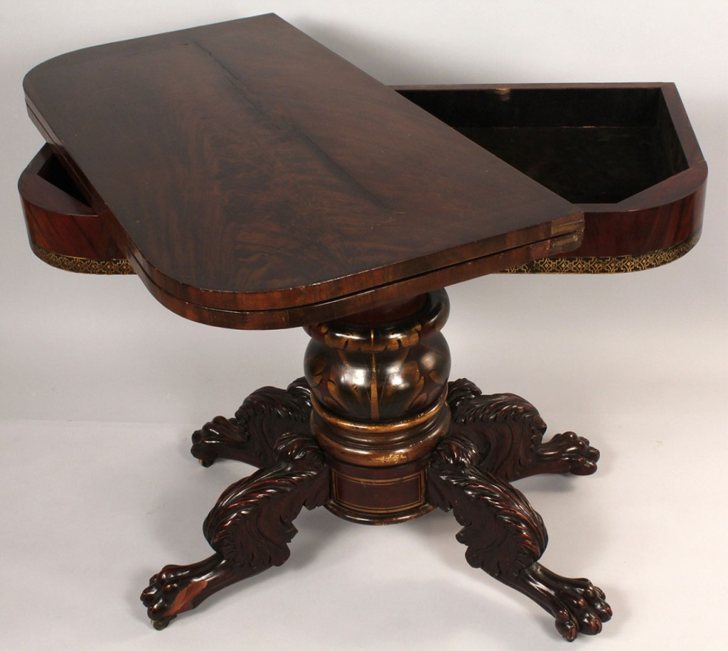 Lot 300: American Classical stenciled card table