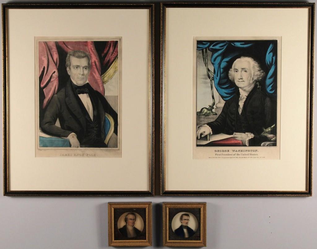 Lot 312: 4 Presidential prints: Washington, Johnson, Polk