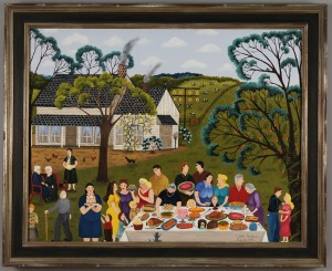Lot 314: Linda Anderson oil painting, Family Picnic