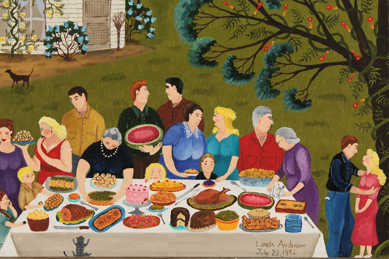 Lot 314 Linda Anderson Oil Painting Family Picnic
