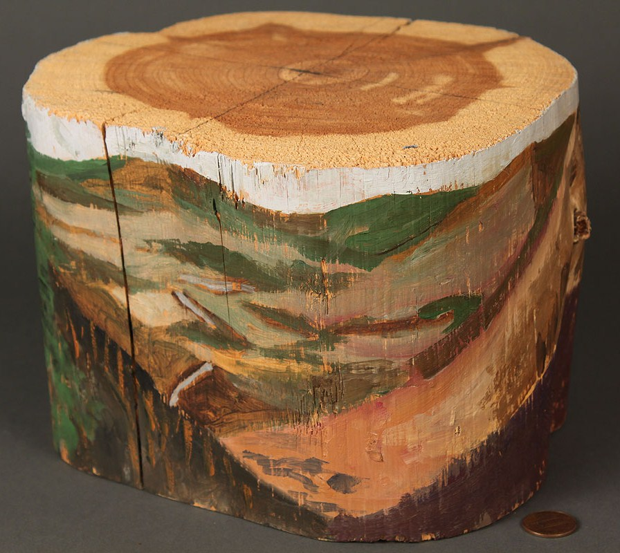 Lot 315: Red Grooms Painted Log
