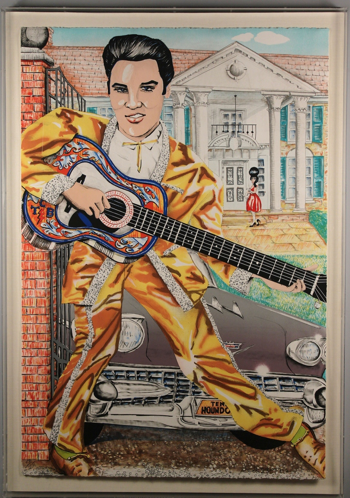 Lot 316: Red Grooms lithograph, Elvis at Graceland