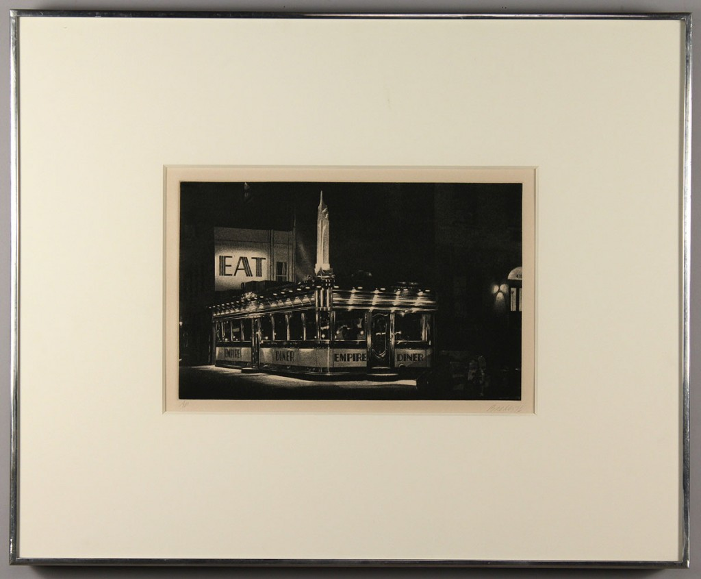 Lot 321: John Baeder mezzotint, Empire Diner