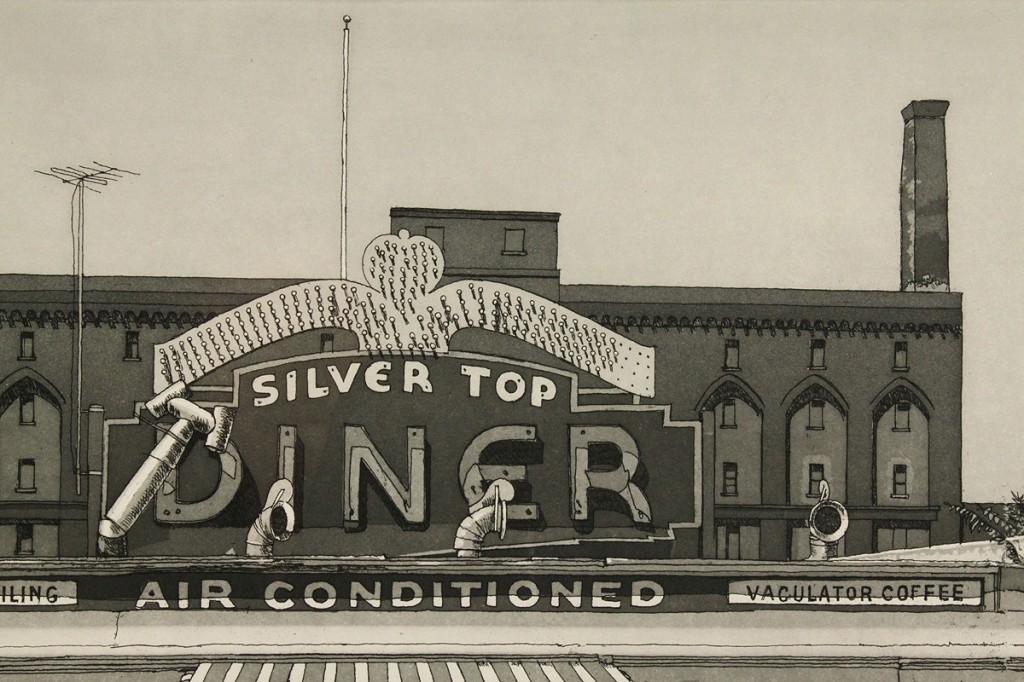 Lot 322: John Baeder mezzotint, Silver Top Diner