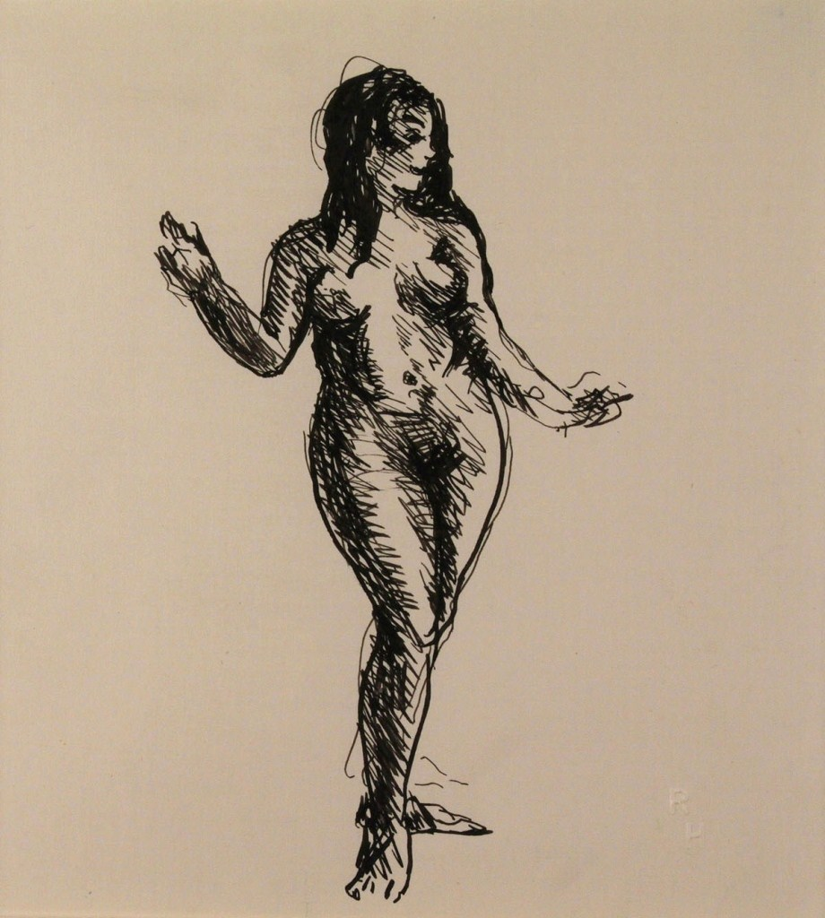 Lot 323: Robert Henri Ink and paper, female nude