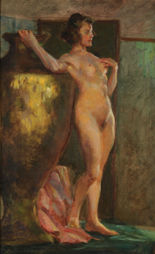 Lot 324: Benton Clark, Standing Nude, oil on canvas