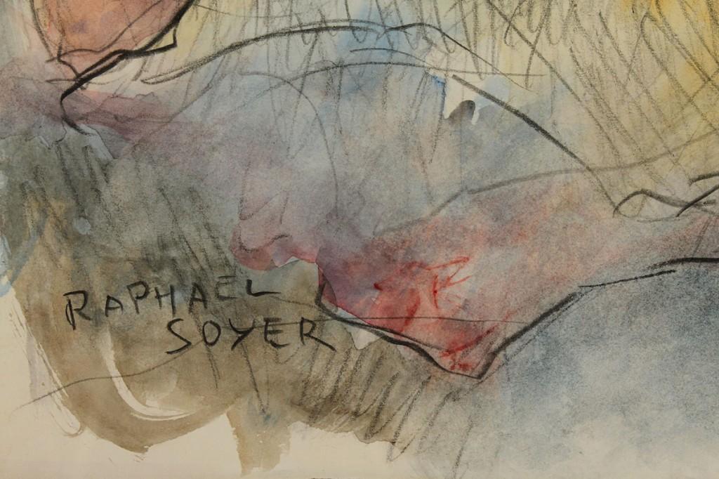 Lot 325: Raphael Soyer Watercolor, Female Nude