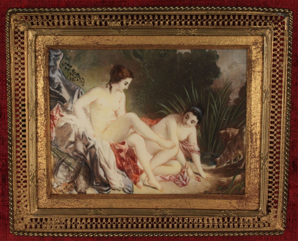 Lot 326: Miniature painting, landscape with nude figures