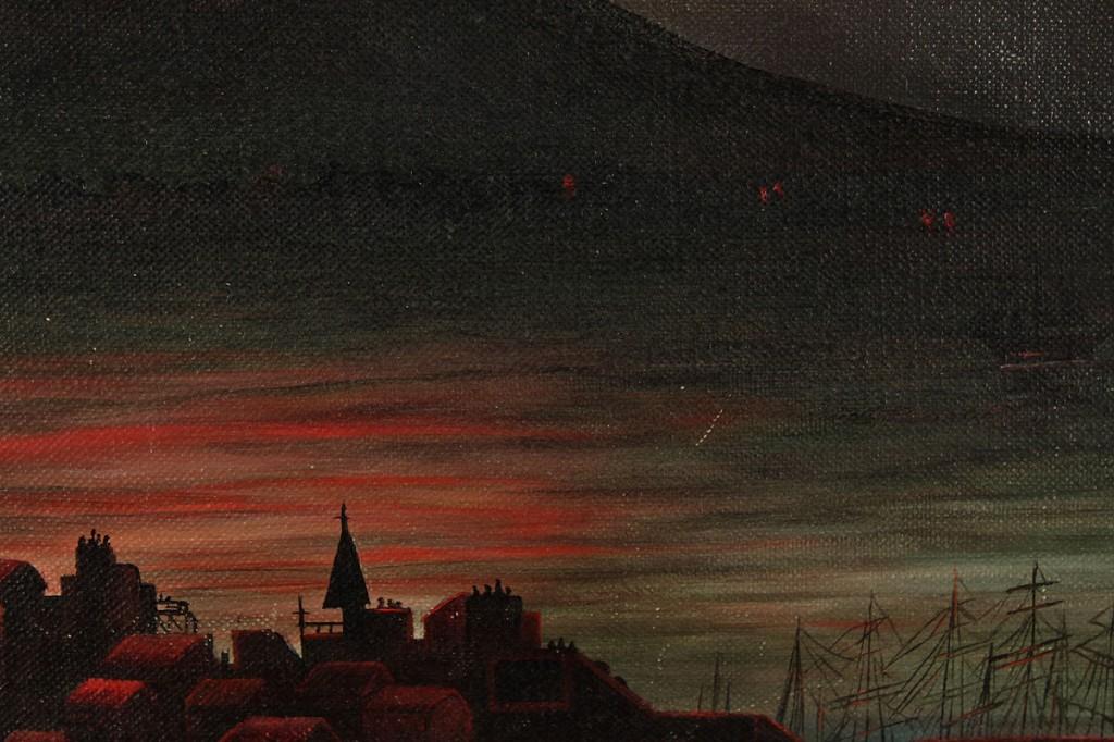 Lot 329: Italian School oil on canvas, Volcano Eruption