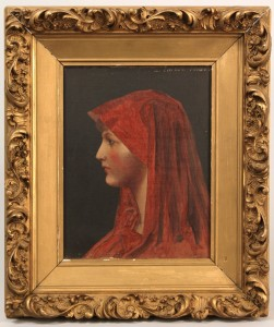 Lot 332: Manner of  J. J. Henner, oil on canvas, Lady in Re