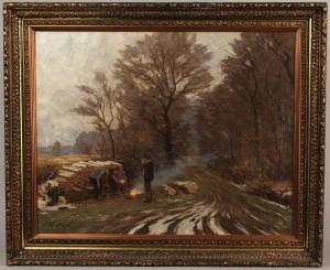 Lot 333: H. Lasch oil on canvas, Campfire & Woodsmen