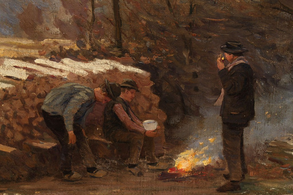 Lot 333: H. Lasch oil on canvas, Campfire & Woodsmen