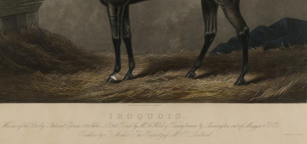 Lot 336: Framed aquatint of Iroquois