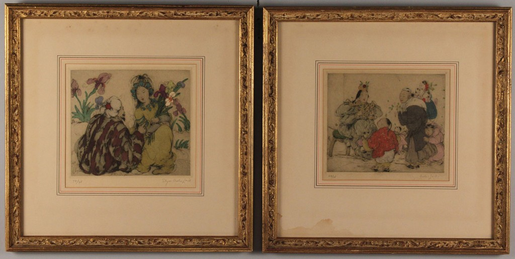Lot 337: Two Elyse Ashe Lord Etchings, Oriental