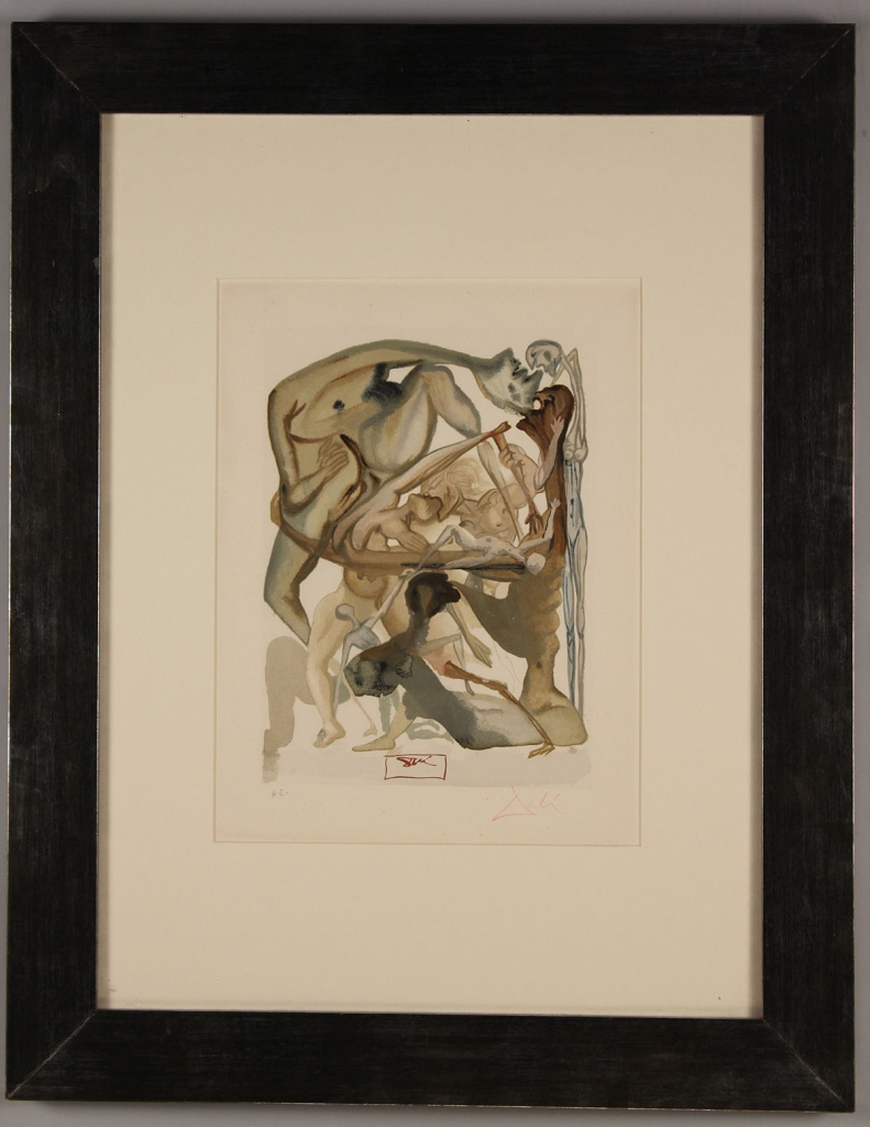 Lot 338: Salvador Dali Woodblock, In Dark Limbo