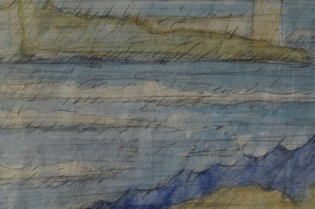 Lot 33: Carl Sublett watercolor, urban landscape