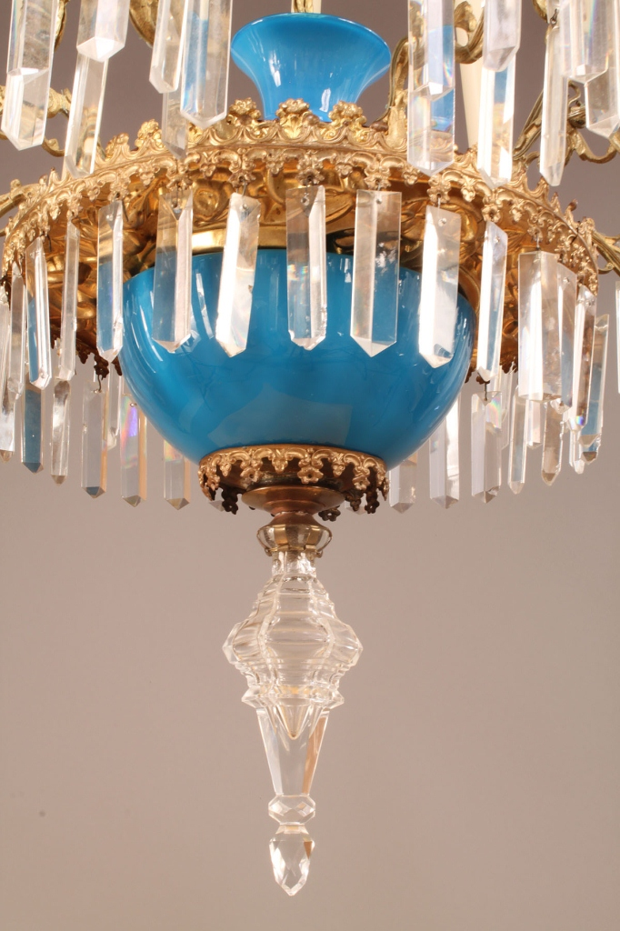 Lot 340: French Neoclassical Opaline chandelier