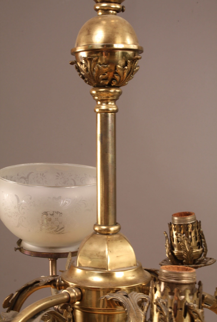 Lot 341: 19th century six arm gasolier
