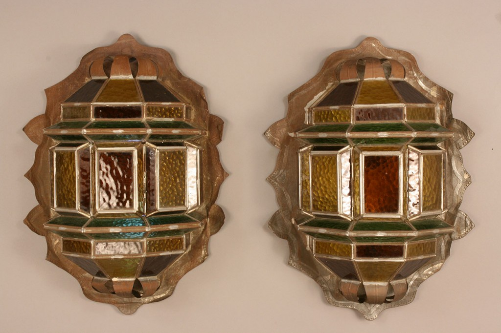 Lot 343: Pair Metal & Glass Art & Crafts Sconces