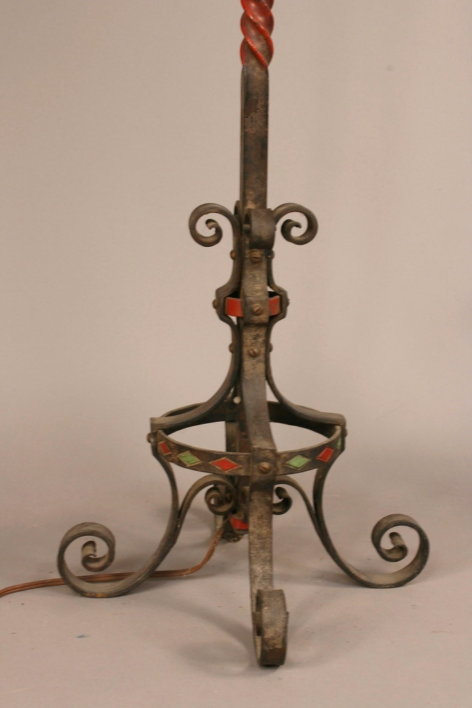 Lot 344: Pair iron torchiere lamps, manner of Oscar Bach