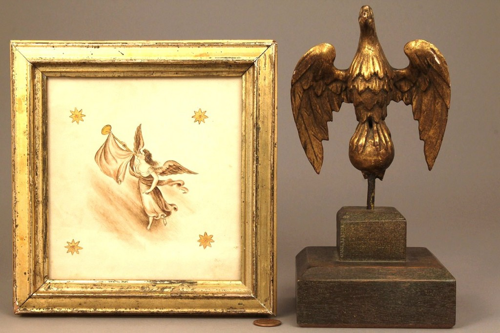 Lot 347: Small carved, gilt eagle & Lady Liberty Watercolor