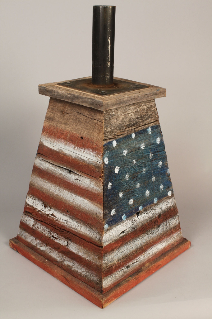 Lot 348: 19th C. gilded iron eagle on patriotic stand