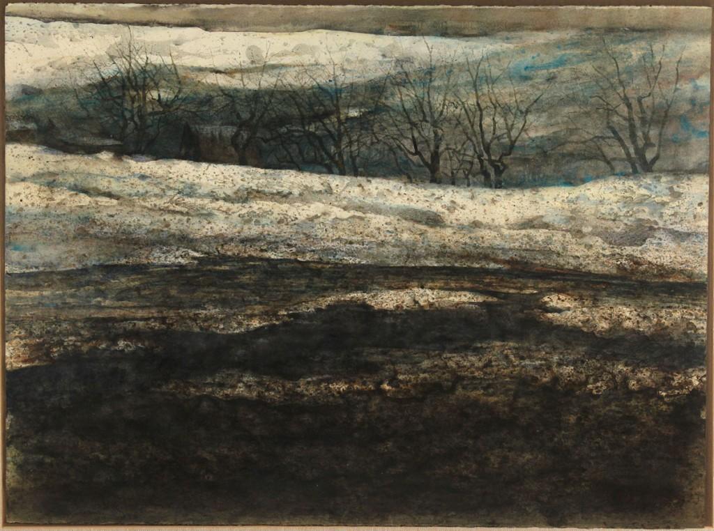Lot 34: Carl Sublett watercolor, winter landscape