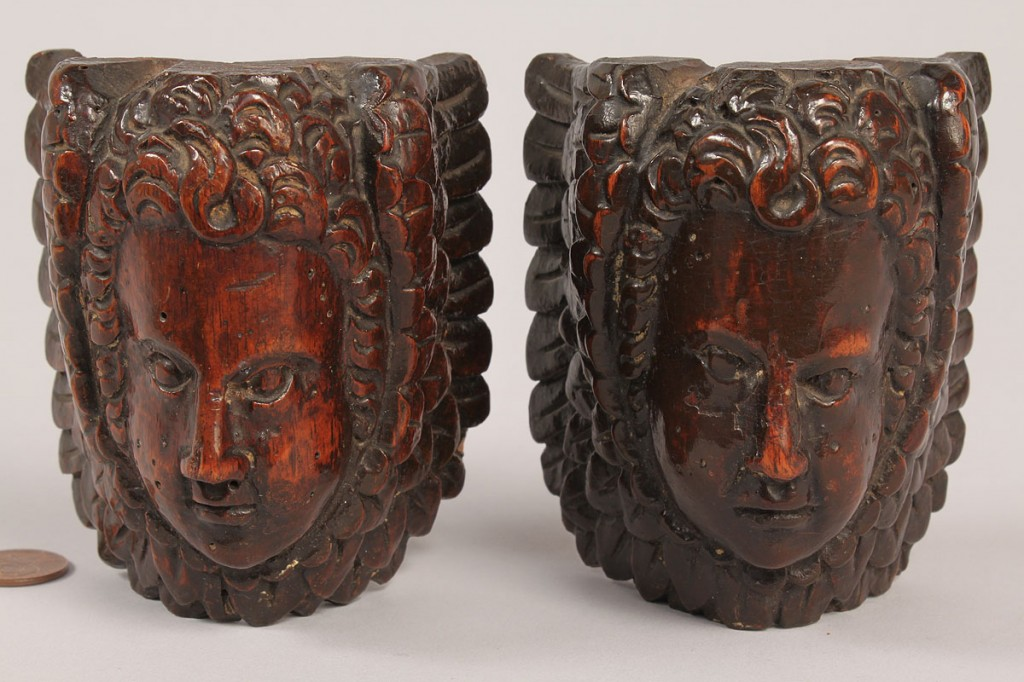Lot 352: Pair of Baroque period carved wood cherubs