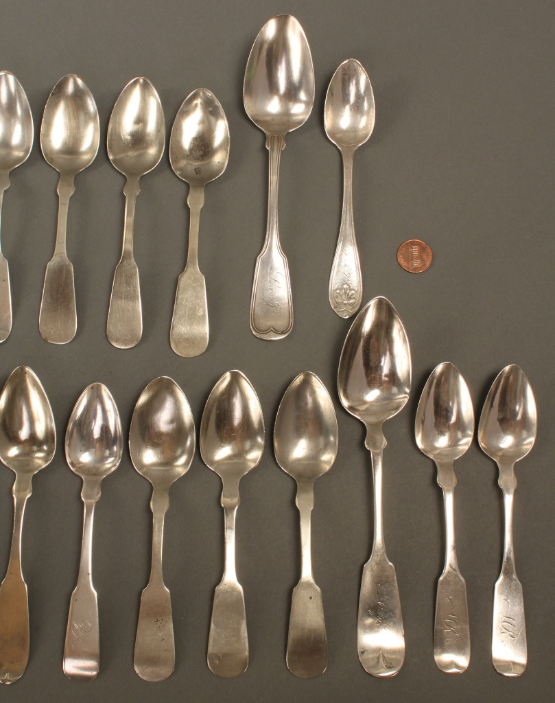 Lot 358: Lot of Assorted Coin Silver Spoons, 27 pieces