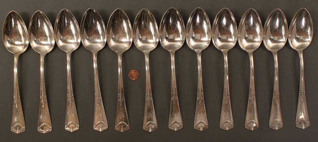 Lot 364: Gebruder Koberlin German Silver Flatware, 69 pcs.