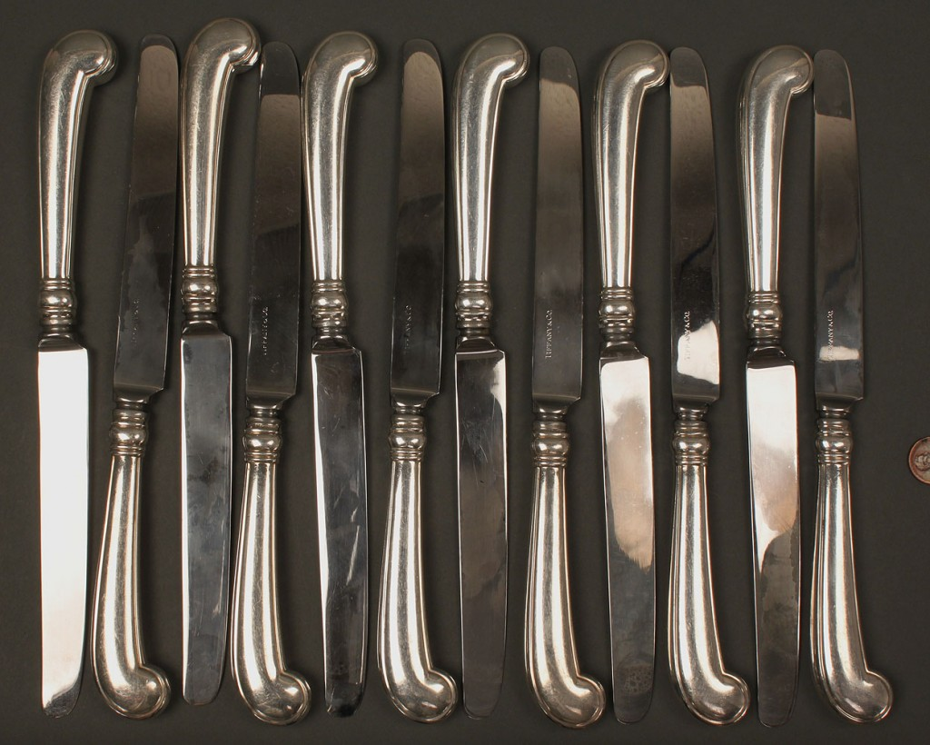 Lot 369: Twelve Tiffany sterling knives