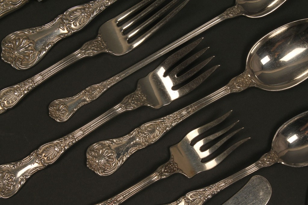 Lot 370: Gorham King George Sterling Flatware, 63 pcs