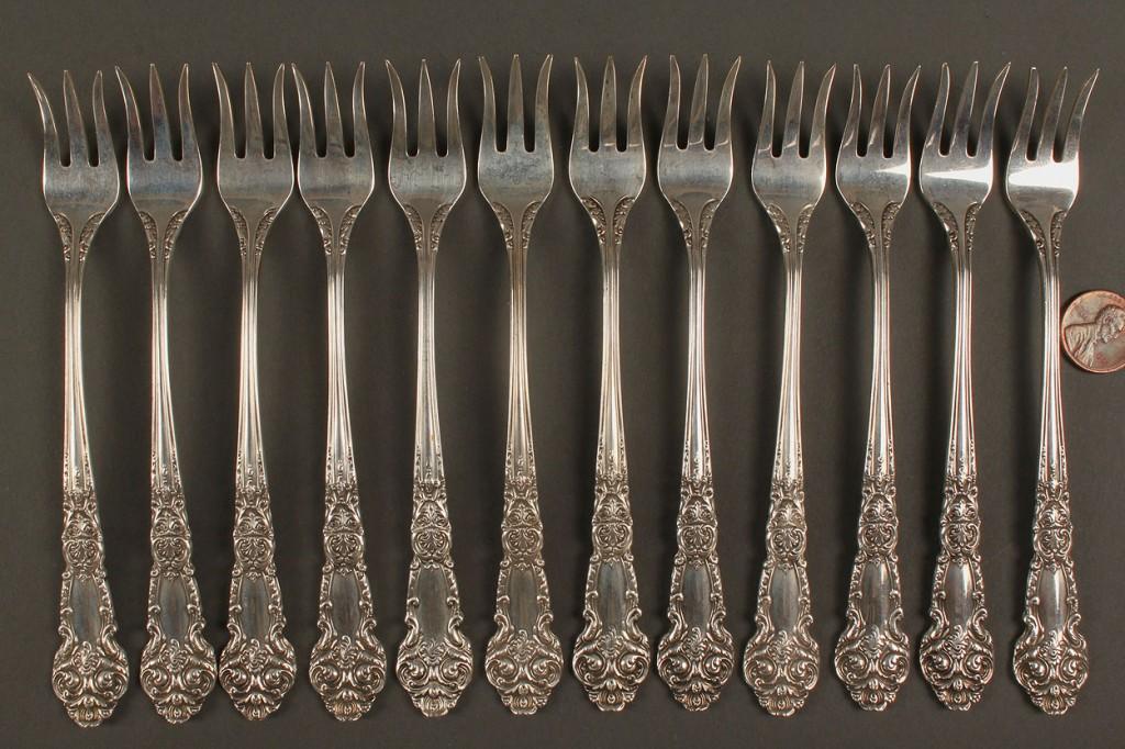 Lot 373: Set of 12 Reed & Barton Sterling Cocktail Forks